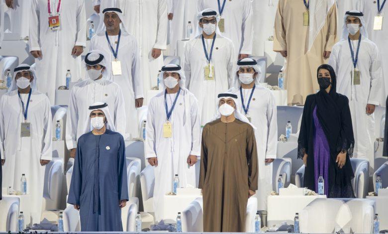 Photo de Mohamed ben Rached et Mohamed ben Zayed assistent à la cérémonie d'inauguration de l'Expo 2020 Doubaï